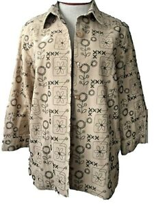 Alfred Dunner  top Size 12 tan black embroidered floral 3/4 sleeve over jacket
