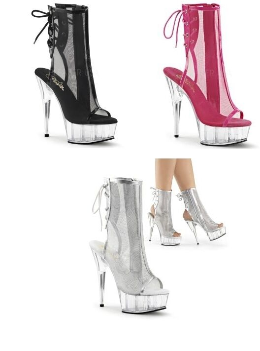 Pleaser Delight 1018msh PLATFORM TACCO A STILETTO CAVIGLIA Stivali open toe DANCER