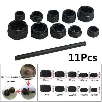 11PCS Black Damaged Nut Bolt Remover Stud Extractor Set Broken Bolt Removal Kit