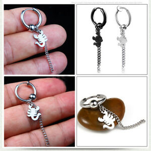 Details About No Ear Hole Anium Steel Earring Men Women Scorpion Dangle Clip 1 Pairs