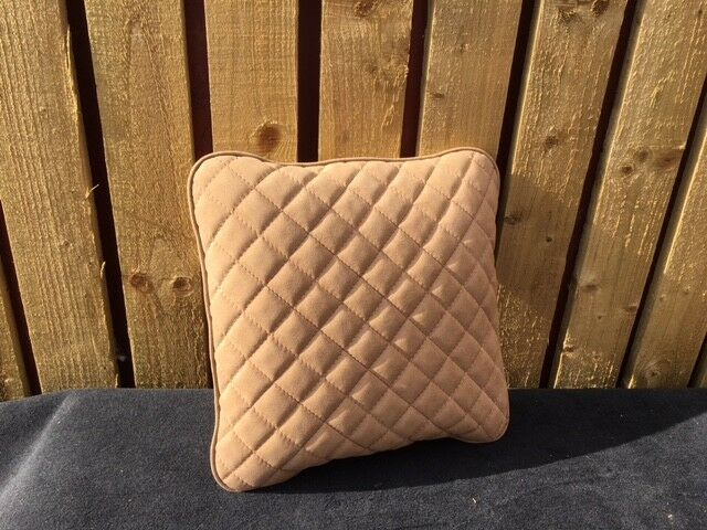 Bentley Style Made To Order  Alcantara  Tan Quilted Suede Cushion Hand Stitched