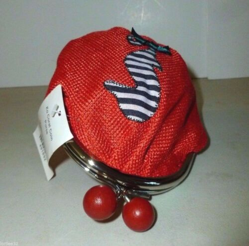 CORAL BURLAP STITCHED APPLIQUE SEAHORSE CHUNKY WOOD BALL KISS LOCK  COIN PURSE