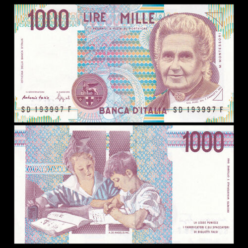 Lot 5 PCS UNC Italy 1000 1,000 Lire 1990 P-114