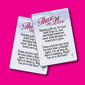 Those We Love Poem 2 Verse Cards Sku 650 Ebay