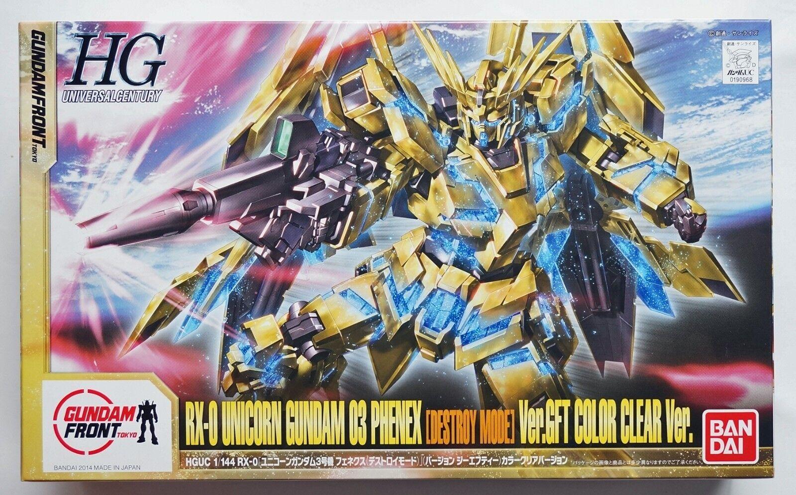 BANDAI HGUC 1  144 Unicorn Gundam 03 Fenex D -Mode GFT färgrensad skalenlig modellllerl