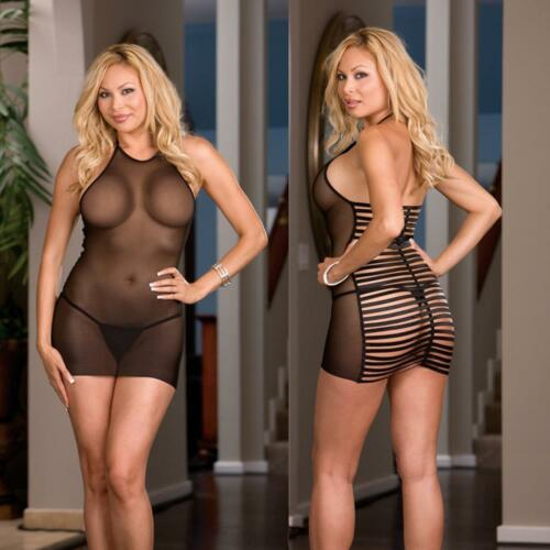 One Size Queen Plus Black Spandex Halter Babydoll w// Thong Lingerie   6280