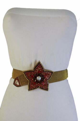 New Women Rusty Gold Metal Band Waist Hip Belt Red Beads Star Flower Buckle S M