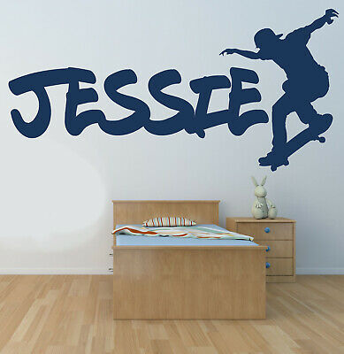 Skateboard and Personalized Name Wall Sticker Wall Art Decor Vinyl Decal Mural