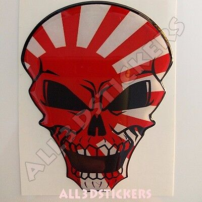 Sticker Flag Rising Sun Japan Skull Adhesive Decal Resin Domed Car Moto 3D