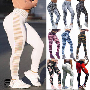 Women-High-Waist-Yoga-Leggings-Gym-Fitness-Pants-Sports-Print-Push-Up-Trousers