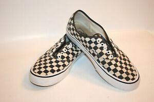 VANS Checkered Sneaker Black White Skate Canvas No Laces Men Shoe US 11 Thailand