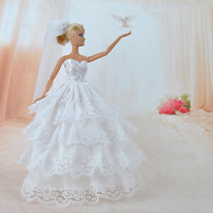 Handmade-Princess-Wedding-Party-Dress-Clothes-Gown-With-Veil-For-Barbie-Dolls-K