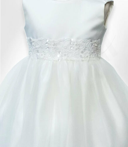 Baby Girls Ivory Christening Dress Pageant Party Flower Girl Dresses