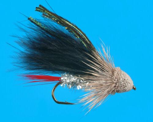 6 pcs size 8 Black Marabou Muddler