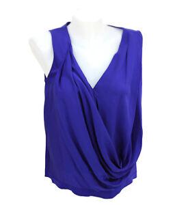 ae8dfeb0373b5 Diane Von Furstenberg DVF RINA Silk Blend Cobalt Blue Draped Blouse ...