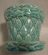 "Vintage Green McCoy 3-1/2"" Flower Pot Planter - Wreath Garland & Quilt Design"