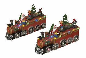 Holiday-2-Pc-Large-Light-Up-Christmas-Train-Winter-Decoration-Vehicle-Scene-Set