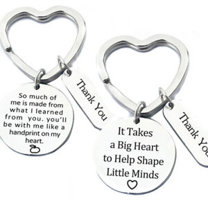 Keychain-Ring-Key-Holder-Stainless-Steel-Teachers-039-Day-Thank-You-Festival-Gif-ti