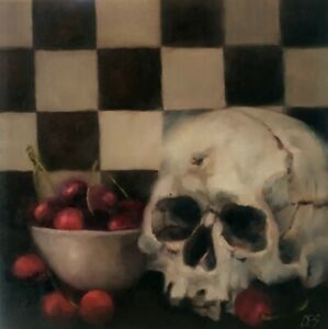 Skull-OIL-Painting-Chess-Red-Cherries-Checkers-Original-Dark-Art-by-CES-NFAC