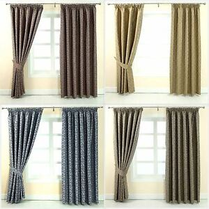 Image Is Loading Pencil Pleat Jacquard Vintage Floral Curtains Fully Lined