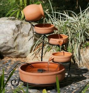 Cascading Water Fountains Outdoor.Details About Gardenwize Garden Solar Powered Brown Terracotta Cascade Water Fountain Feature