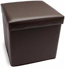 Brown Folding Storage Box Faux Leather Cover Home Bedroom Office Storage Tidy