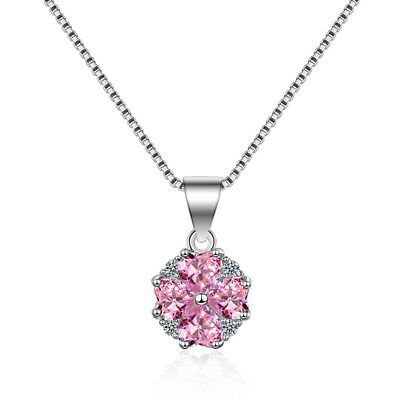 925 Sterling Silver Necklace Crystal Flower Pendant For Women Fashion Jewellery