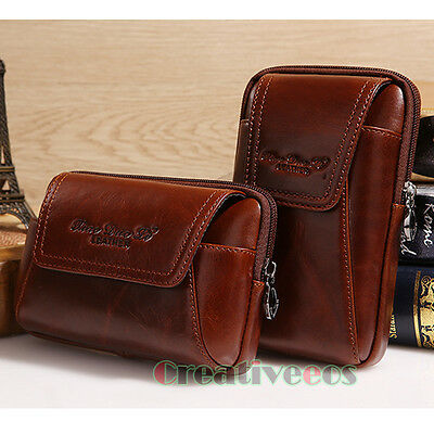 Men Genuine Leather Cell Phone Case Cover  Pouch Belt Purse Fanny Pack Waist Bag