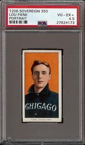 Rare 1909-11 T206 Lou Fiene Portrait Sovereign 350 Chicago PSA 4.5 VG - EX +
