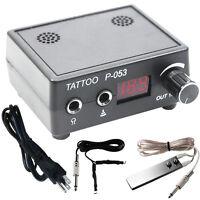 NEW Pro LCD Digital Tattoo Machine Power Supply Kit Set w/ Clip Cord, Foot Pedal