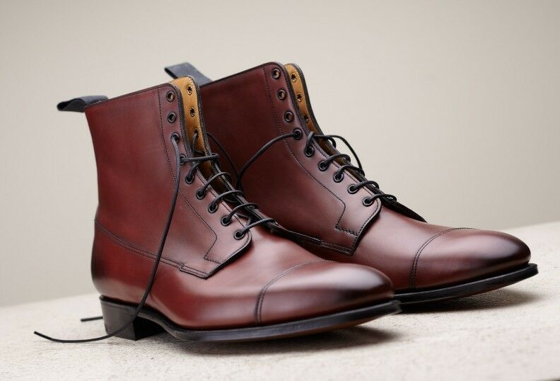 Handmade Uomo Uomo Uomo brown leather boots, dress boots for Uomo, Uomo ankle high boots 4c0d05