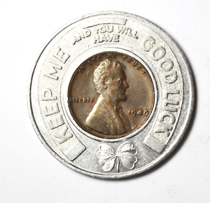 1948-1c-Wheat-Cent-Encased-Penny-KC-Safety-Council-Member-I-Practice-Good-Luck
