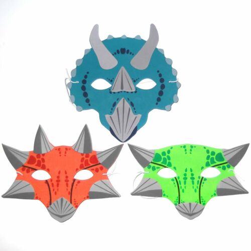 Dinosaur Jurassic Fancy Dress Set of 3 Foam Dinosaur Childrens Masks