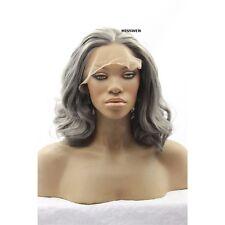 "14"" Short Wavy Medium Grey Color Lace Front Wig Heat Resistant Synthetic Hair"