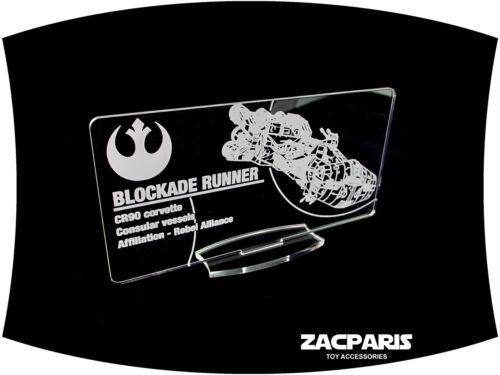 etc Clear acrylic! Models DISPLAY PLAQUE for Lego 10019 Rebel Blockade Runner