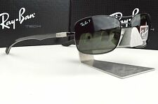 NEW RAY BAN TECH RB 8309 002/9A Carbon Fiber Black Green Polarized Sunglasses