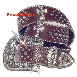 New Women Rhinestone Crystal Bling Brown Cross Snap On Buckle Leather Belt S