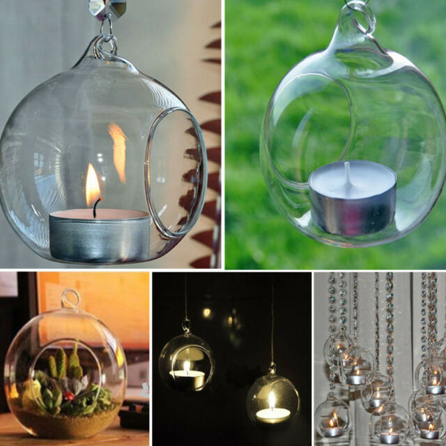 Crystal Glass Hanging Candle Holder Candlestick Romantic Wedding Home Decor NEW