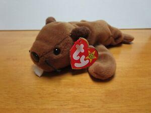 Ty Beanie Babies Bucky the beaver, 1995, Mint w/ Tag