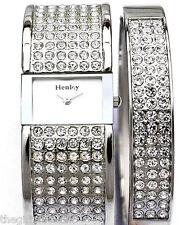 Henley señoras Brillante Real Reloj Cristales Y Plata Tono Brazalete Para Mujer Set De Regalo