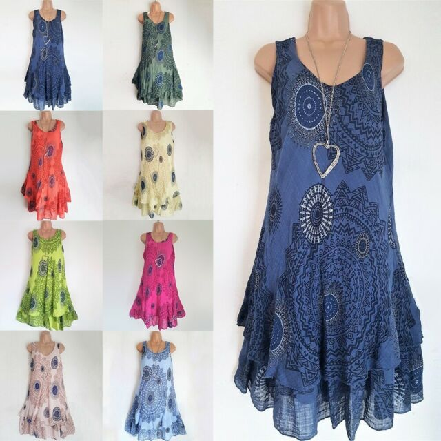 Plus Size Women Ladies Boho Sleeveless Mini Dress Summer Beach Baggy Tunic Dress