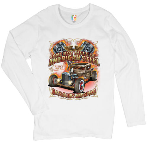One Hot Piece of American Steele Women/'s Long Sleeve T-shirt Route 66 Hot Rod