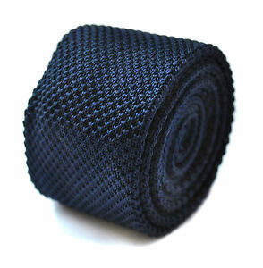 Plain-Navy-Blue-Skinny-de-punto-tie-por-Frederick-Thomas-ft264