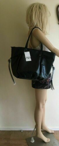 ZARA black CRACKED-EFFECT TOTE large BAG handbag new with tags