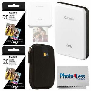 Canon IVY Mini Mobile Photo Printer (Slate Gray) + 40 Zink Photo Paper + Case
