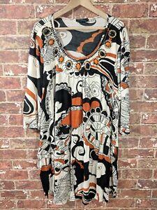 Ulla-Popken-Approx-3XL-Plus-Dress-Tunic-Embellished-Patterned-Scoop-Neck-Retro