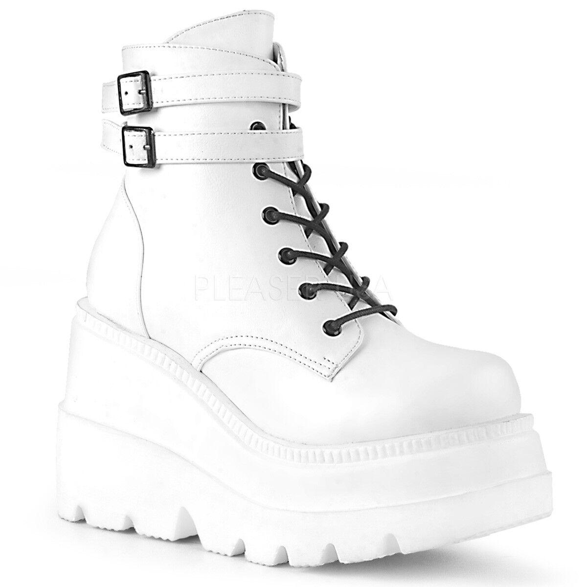 DEMONIA SHA52 WVL Womens Punk Gogo Wedge Platform White Lace Up Ankle Boots