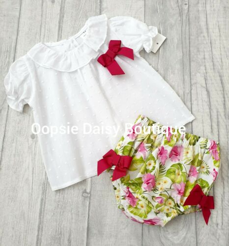upto 24mths ☆ Girls Floral Ribbon Jam Pants Set with Frill Collar Blouse