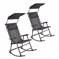 2 Two Folding Rocking Chair Porch Patio Indoor Rocker With Canopy & Headrest on sale