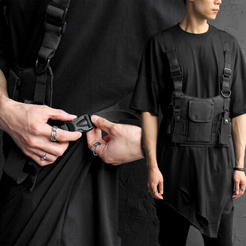 GENTLER Men/'s fashion Techwear Look Buckle Webbing Belt Pocket Bag Vest 019
